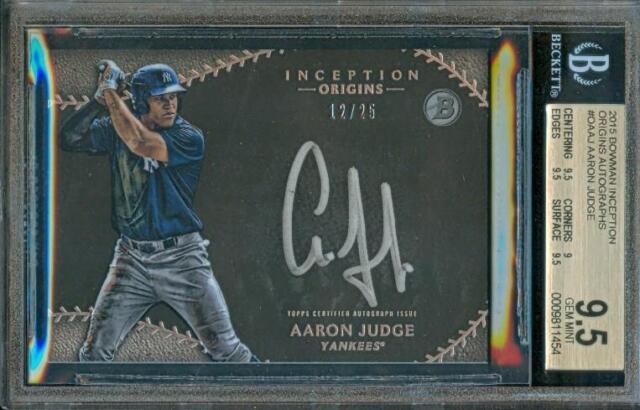 2015 Bowman Inception AARON JUDGE Yankees Rookie Card #12/25 BGS 9.5 Auto BGS 10