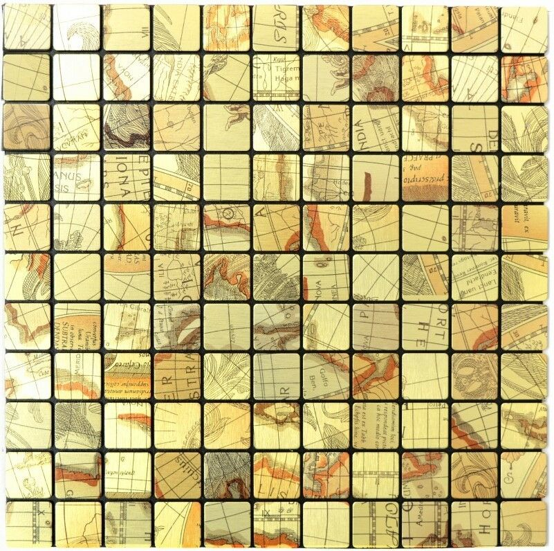 Mosaik Fliese selbstklebend Aluminium gold metall  |200-KA25G_f10 Matten