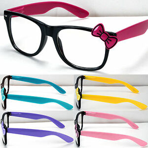 7ca8e20dc34 New Womens Clear Lens Frame Eye Glasses Bow Bowknot Hello Kitty ...