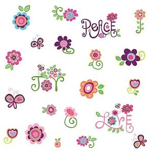 LOVE-JOY-PEACE-35-BiG-Wall-Stickers-Flowers-Girls-Room-Decor-Word-Art-Decals