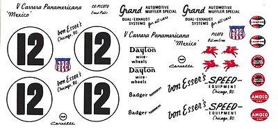 #12 Bill Von Esser's 1954 Corvette Pan American 1/64th Ho Scale Slot Car Decals Hot Sale 50-70% Korting