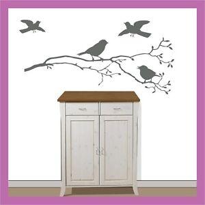 Wandtattoo fenster vogel spatz auf ast zweig 60x22cm ebay - Vogel wandtattoo ...