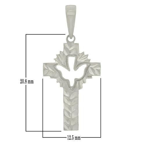 "Details about  /14k White Gold Dove Cross Charm Pendant 1.3/"" 1.5 grams"