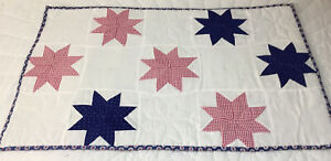 Patchwork Quilt Table Topper or Wall Hanging, Star Design, Royal Blue & Red