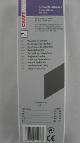 ELEKTRODEN  Schweisselektroden Craftomat Durchmesser 1,6 x 250 mm  250 Stück