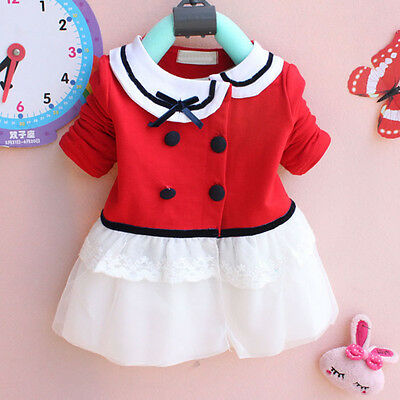 Baby Girl Kids Long Sleeve Red Princess Red White Cardigan Dress Clothes Costume