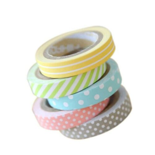 AKORD 5-Piece Mix Designs Adhesive Tape Set for Scrapbooking//Craft Paper Multi