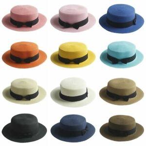 Women-039-s-Kids-Girls-Straw-Bowler-Boater-Sun-Hat-Round-Flat-Caps-Brim-Summer-Beach