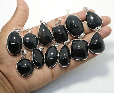 20 PCs Natural Snow Flack Obsidian Gemstone .925 Silver Plated Bezel Pendants