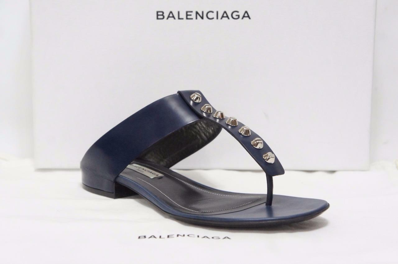 BALENCIAGA CLASSIC SCREW STUDDED T-STRAP LEATHER SANDALS SHOES 36.5 6.5  665