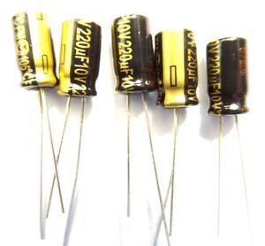 Panasonic Low ESR condensatore EEUFM 1a221 220uf 10v 6,3x11,2mm rm2 5 2 PCS