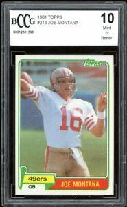 1981 Topps #216 Joe Montana Rookie Card BGS BCCG 10 Mint+