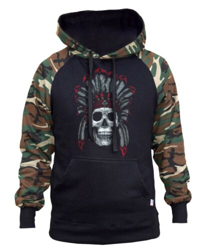 Men/'s Indian Chief Sugar Skull Camo//Black Raglan Hoodie Native Tribal Headdress