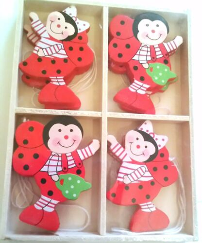 8x Wooden Easter Ladybird Decorations Ostern Home Decor inBox Happy Easter Tree
