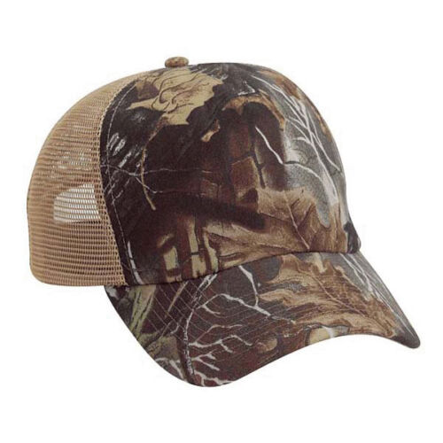 Wholesale 12 Blank Trucker Hats Camo //Khaki Cotton //Mesh Embroider//Screen 5Panel