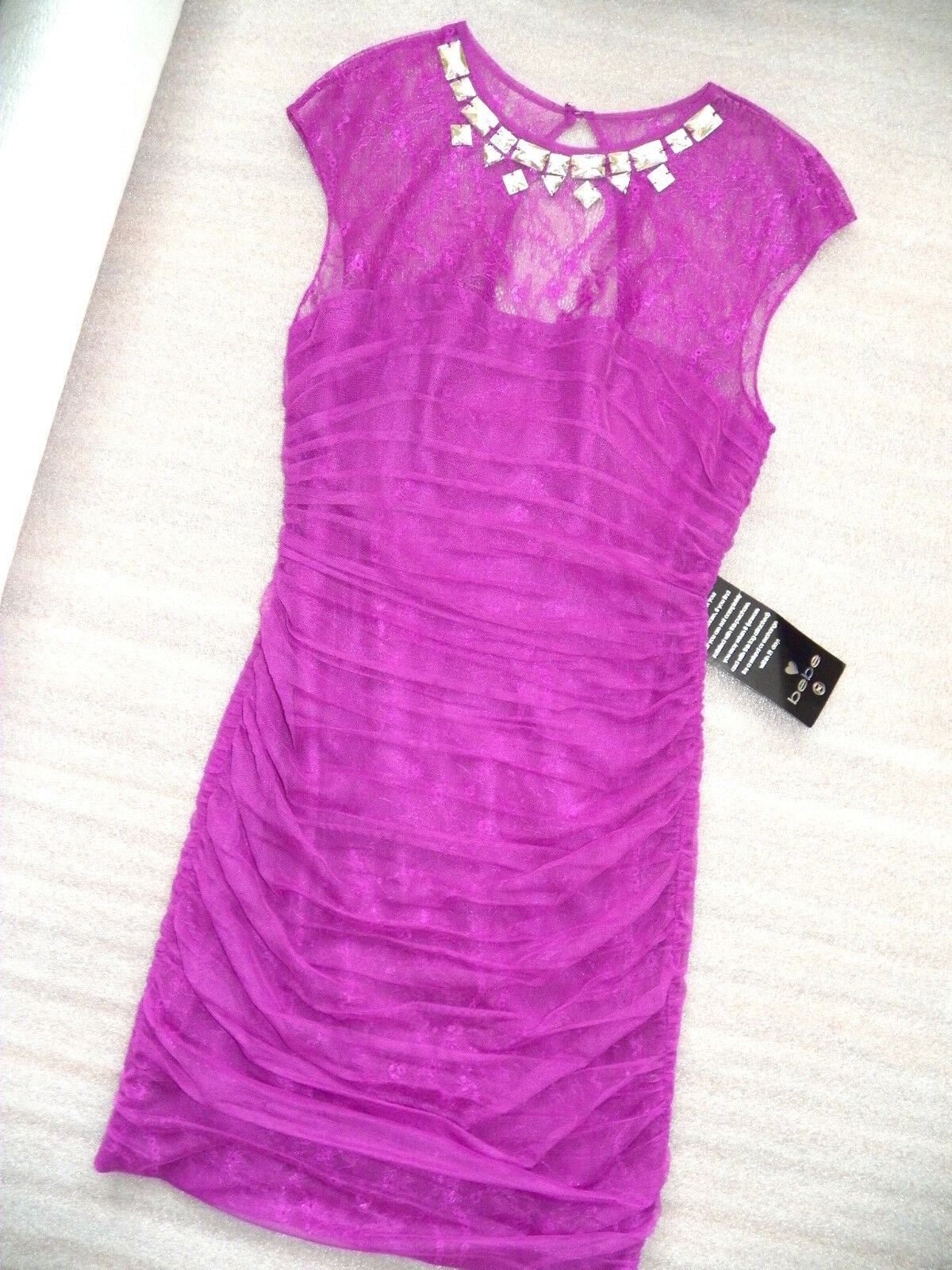 NWT Bebe top crystal lila ruched sheer lace mesh bodycon beaded dress XS 0 2
