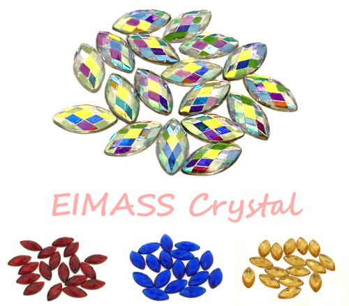 50 x Horse Eye Navette Home Decor EIMASS® Acrylic Rhinestones for Costumes