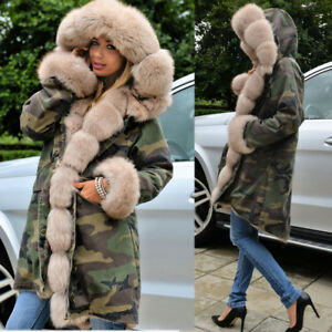 0743549b4f8 Aofur Womens Camo Fishtail Faux Fur Coat Ladies Winter Parka Thick ...