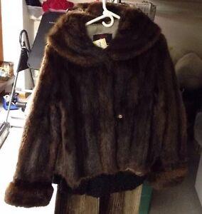 Womens Ladies Vintage Genuine Muskrat Fur Coat Jacket size M 0026