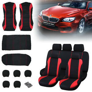 Universal-Car-Protectors-Red-Black-Washable-Seat-Covers-Set-Airbag-Safe-Full-Set