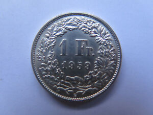1959 B SWITZERLAND SILVER 1 FRANC COIN in BRILLIANT UNCIRCULATED CONDITION