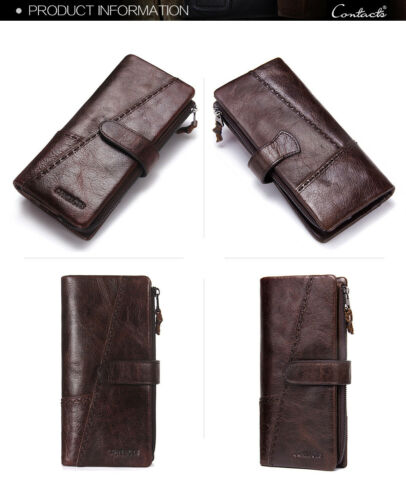 Cowhide Men/'s Genuine Leather Long Wallet Money Card Holder Hi-Q Purse Clutch
