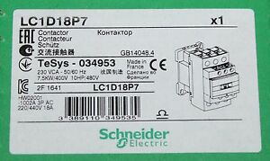 schneider electric lc1d18 b7 18 amp contactor 24v ac coil ebay