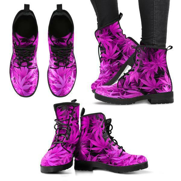 Dank Master Women's Weed Leather Boots - Hot Pink cannabis fashion marijuana