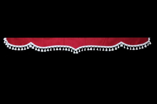 Truck Scania R S P G V8 front windshield curtains fringed red