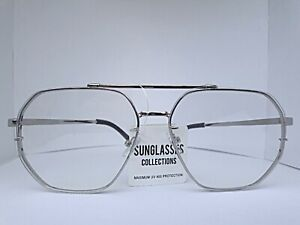 Mens-OVERSIZED-VINTAGE-RETRO-Style-Clear-Lens-SUN-GLASSES-SILVER-Metal-Frame-New