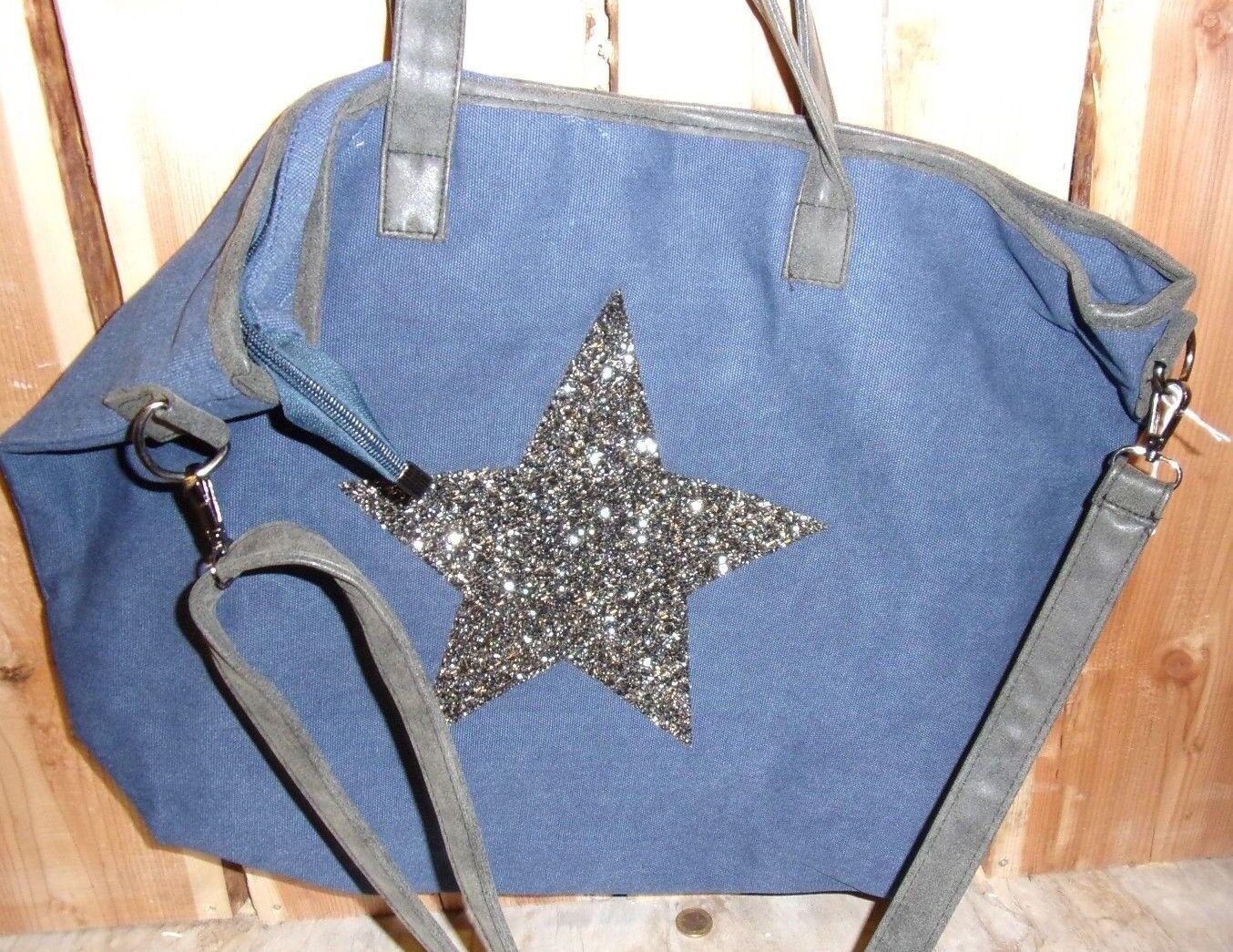 344a513e3b729 XL Tasche Schultertasche Shopper Shopper Shopper blau Stern groß Handtasche