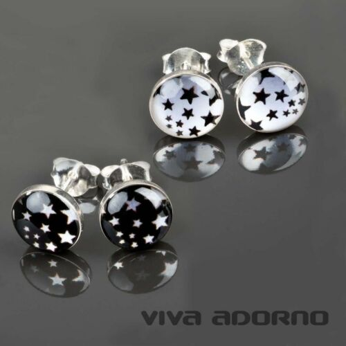 1 Paar Edelstahl Ohr Stecker Stern Sterne Ohrringe Rockabilly Silber Z300