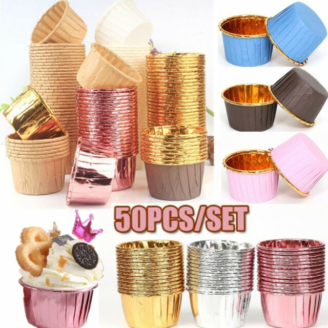 Pack of 45 Gold or Silver metallic cupcake muffin cake cases