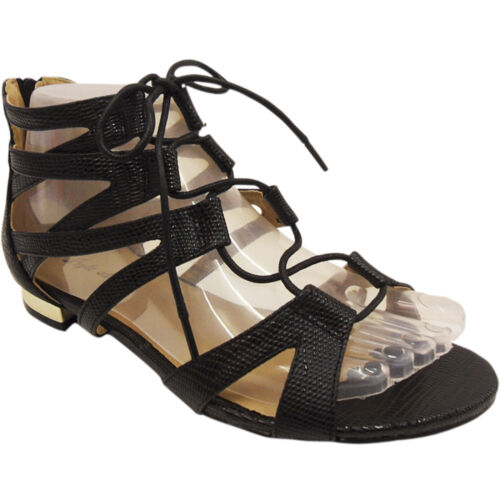 NEW WOMENS LADIES LACE UP CUT OUT LOW HEEL GLADIATOR SUMMER SANDALS SHOES SIZE
