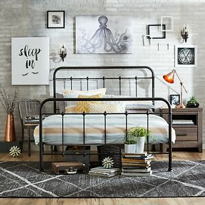 Incredible Details About Queen Size Bed Frame Metal Headboard Footboard Adjustable Height Antique Rustic Beutiful Home Inspiration Truamahrainfo