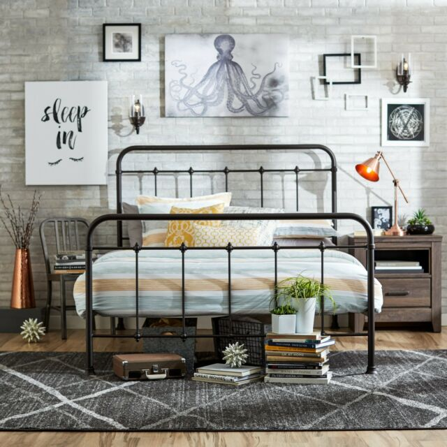 meet 252fa ebe96 Queen Size Bed Frame Metal Headboard Footboard Adjustable Height Antique  Rustic