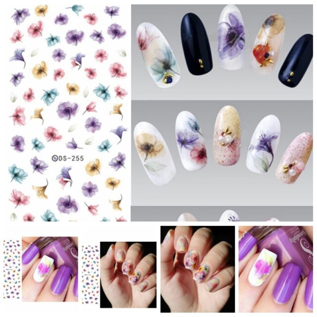 1PC Sheet Chinese Ink Flowers Nails Art Stickers Beautiful Water Transfer Decals