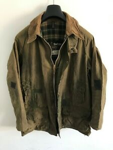 Mens-Vintage-Barbour-Beaufort-wax-jacket-Green-coat-40in-size-Medium-Large-M-L