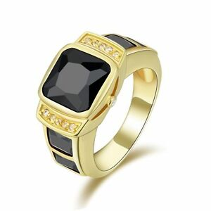 Fashion Size 7,8,9,10,11 Mens 18K Gold Filled Black Sapphire Engagement Rings