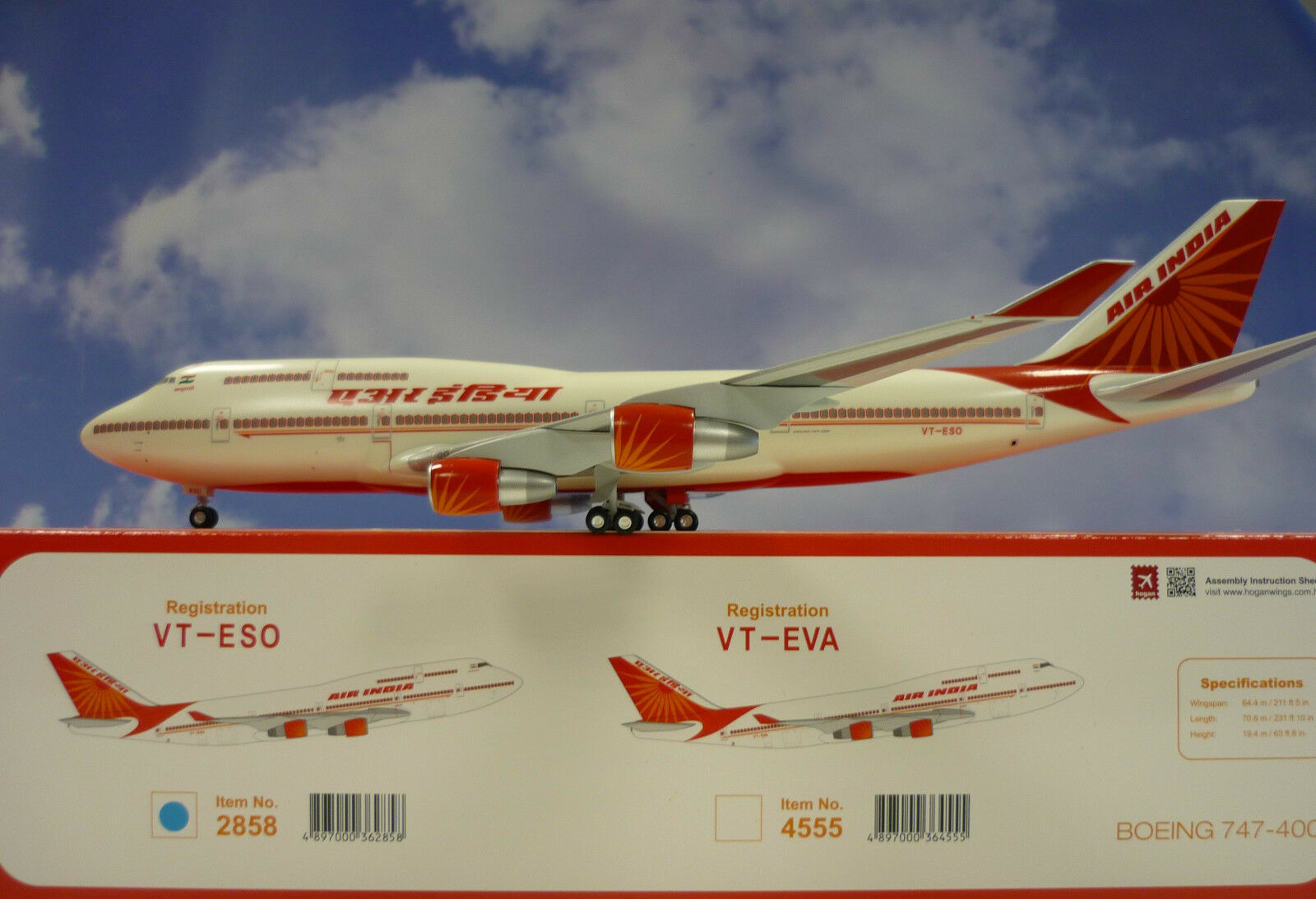 Hogan Wings 1 200 Boeing 747-400 Air India VT-ESO li2858+ Herpa Wings catalogue