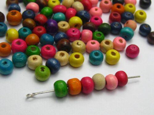 500 cuentas de madera redondas de colores mezclados 6 mm ~ Cuentas De Madera