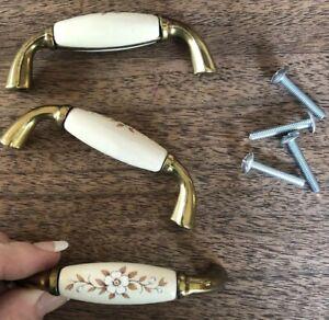Vintage Brass And Cream Porcelain Floral Drawer Pulls Handles, Set Of 3
