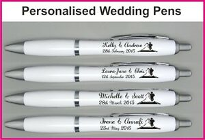 Image Is Loading 200 Personalised Printed Wedding Pens Favors Favours