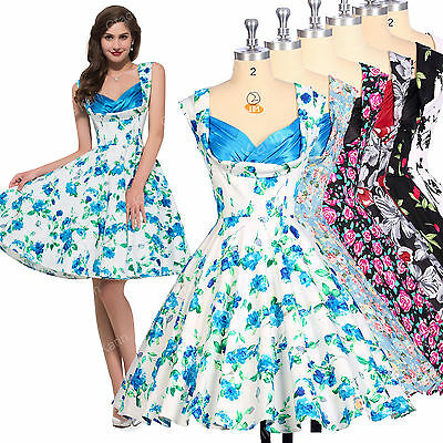 BLUE+ FLORAL Vintage Retro Swing 50's 60's pinup Housewife Prom Dance Tea Dress