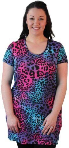 Ladies Plus Size Womens Curve Short Sleeve Leopard Print Casual Tunic Long Top