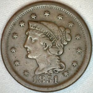 1851-Braided-Hair-Liberty-Head-Large-Cent-US-Copper-Type-One-Cent-Coin-Fine-K26