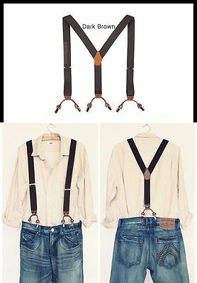 "Mens Elastic Leather Suspenders Adjustable Braces Clip-On 1.3"" Width 5 Colors !"