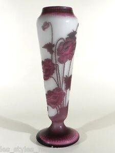 DAUM-Nancy-Jugendstil-Cameoglas-Mohnblumen-France-art-nouveau-glass-vase