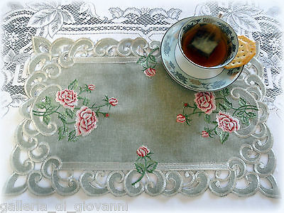 BELLA ROSA  Lace Doily Pink Rose Romantic Victorian