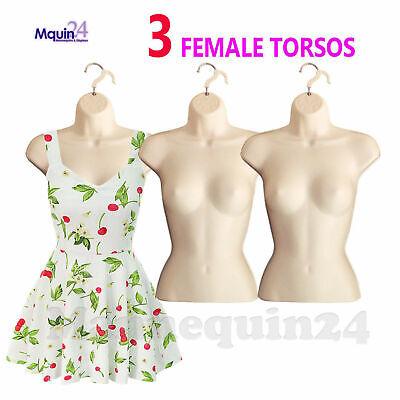 For S-M Sizes 3 Pcs Torso Female Body Mannequin Forms Set Waist Long Black White And Flesh